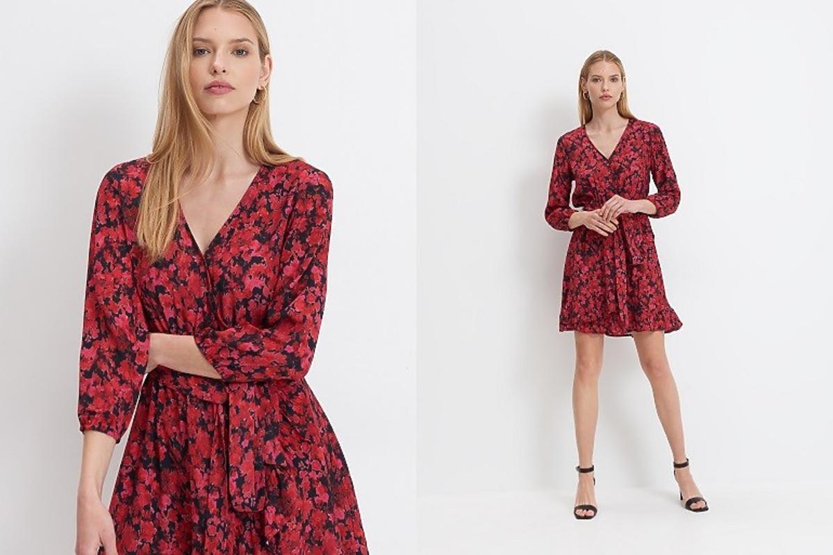 mohito czerwona sukienka w kwiaty