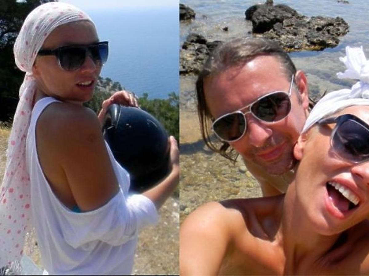 Monika Jarosińska z mężem w podróży poślubnej