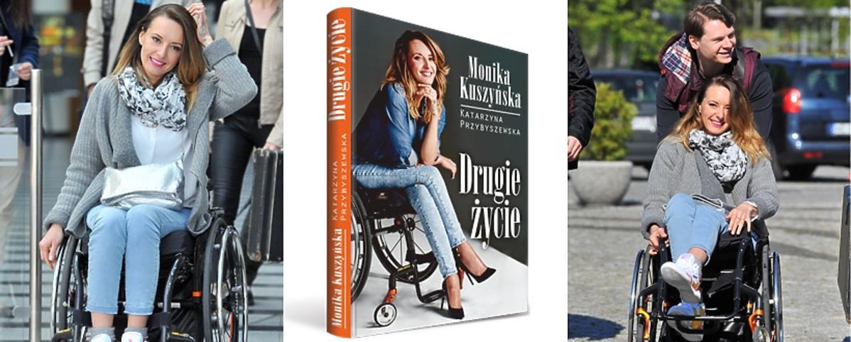 Monika Kuszyńska na wózku z mężem i z okładką swojej książki