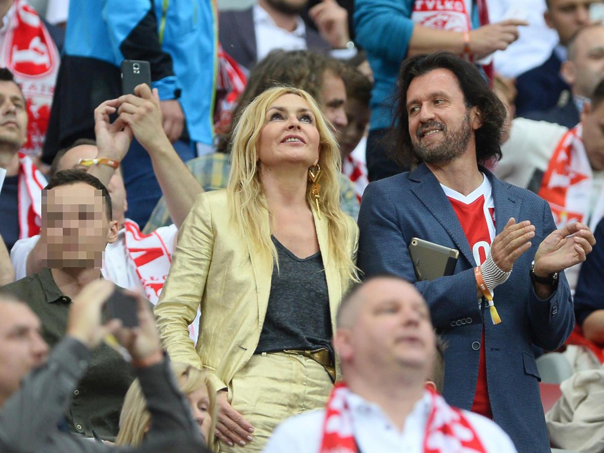 Monika Olejnik na meczu Polska Rumunia