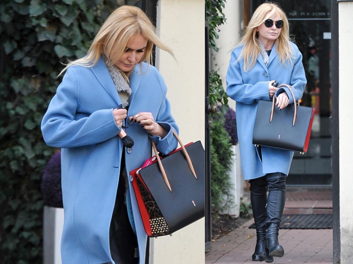 Monika Olejnik w niebieskim płaszczu
