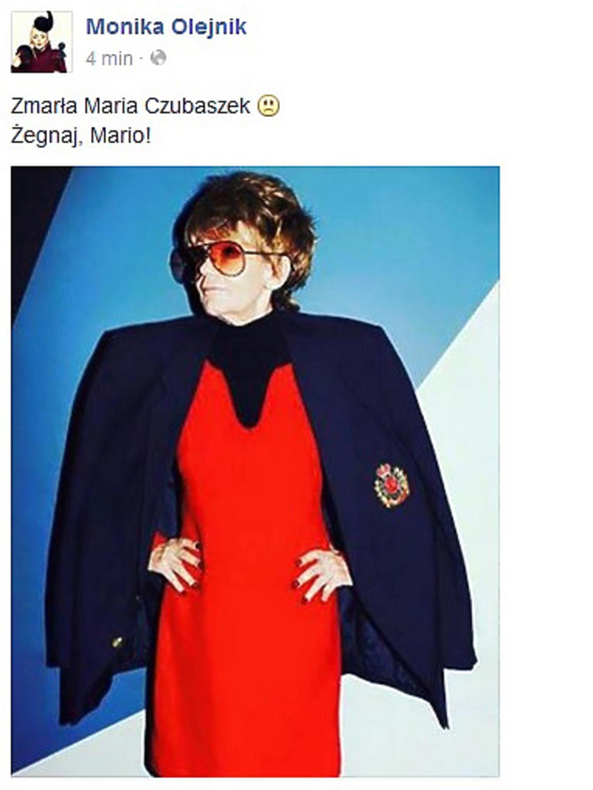 Monika Olenik o śmierci Marii Czubaszek
