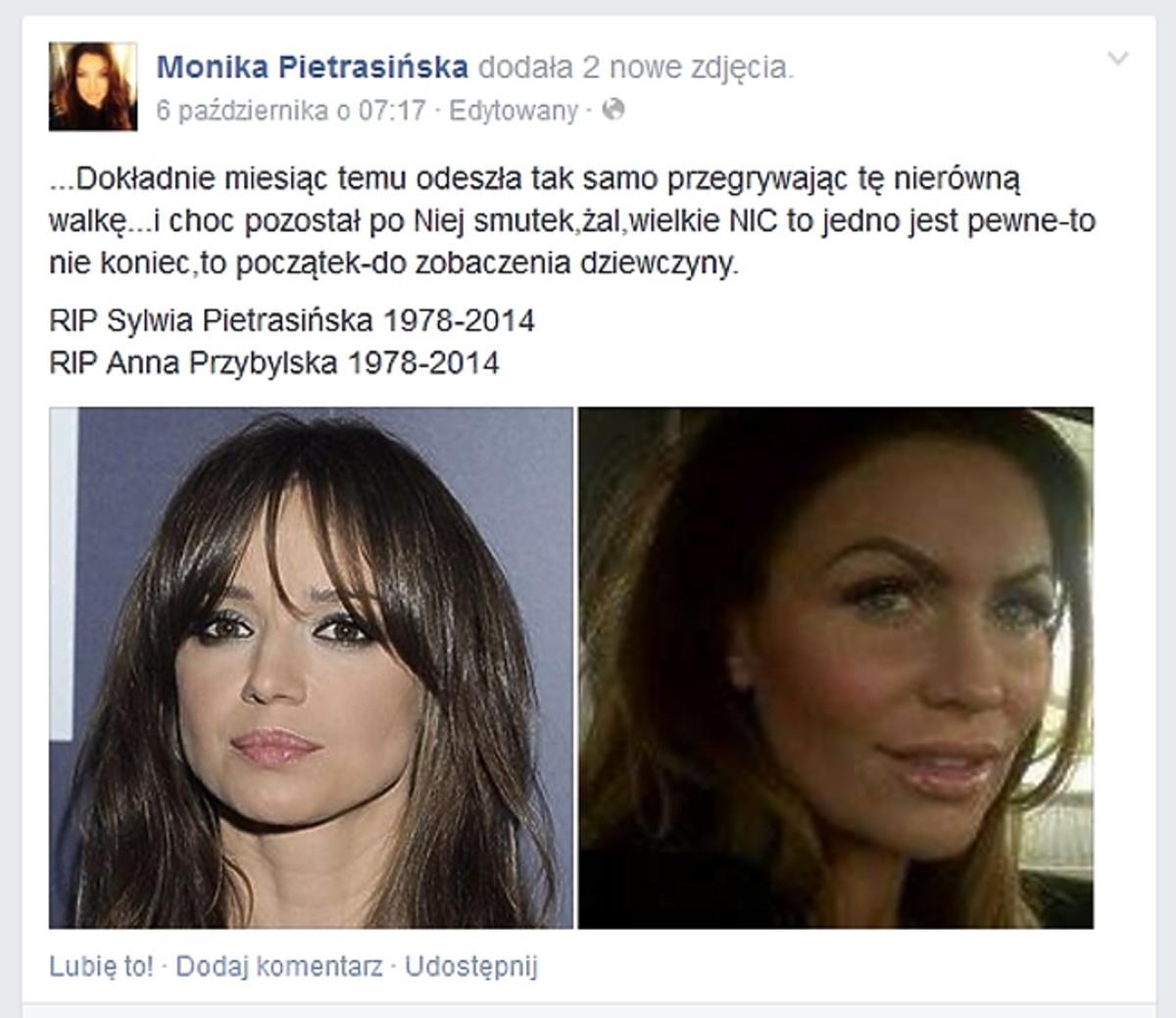 Monika Pietrasińska o śmierci Anny Przybylskiej. Siostra Moniki Pietrasińskiej nie żyje
