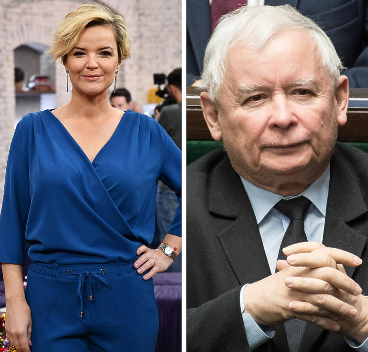 Monika Zamachowska i Jarosław Kaczyński
