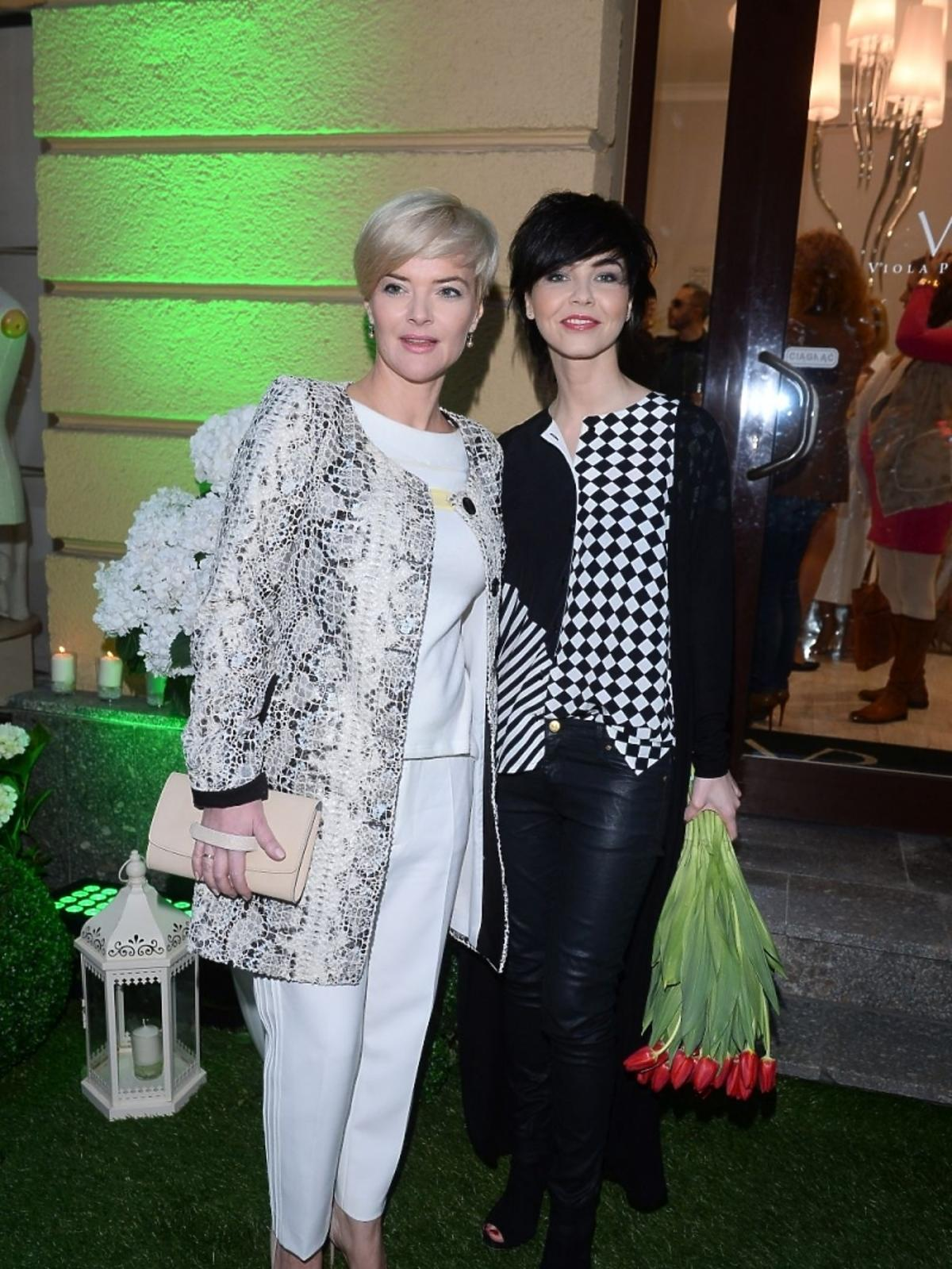 Monika Zamachowska i Paulina Drażba na otwarciu butiku Violi Piekut