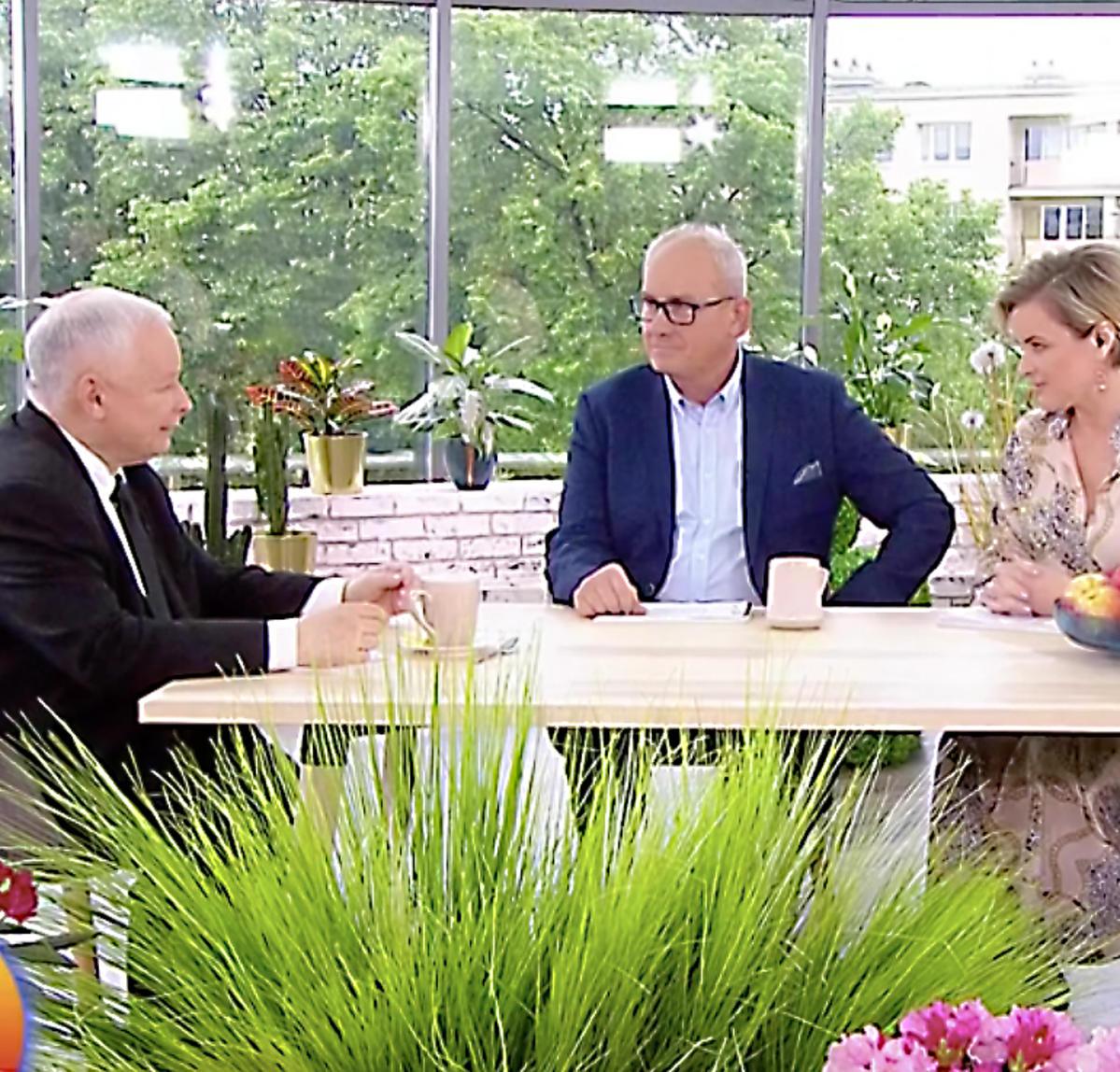 Monika Zamachowska, Jarosław Kaczyński, Michał Olszański  w Pytaniu na śniadanie