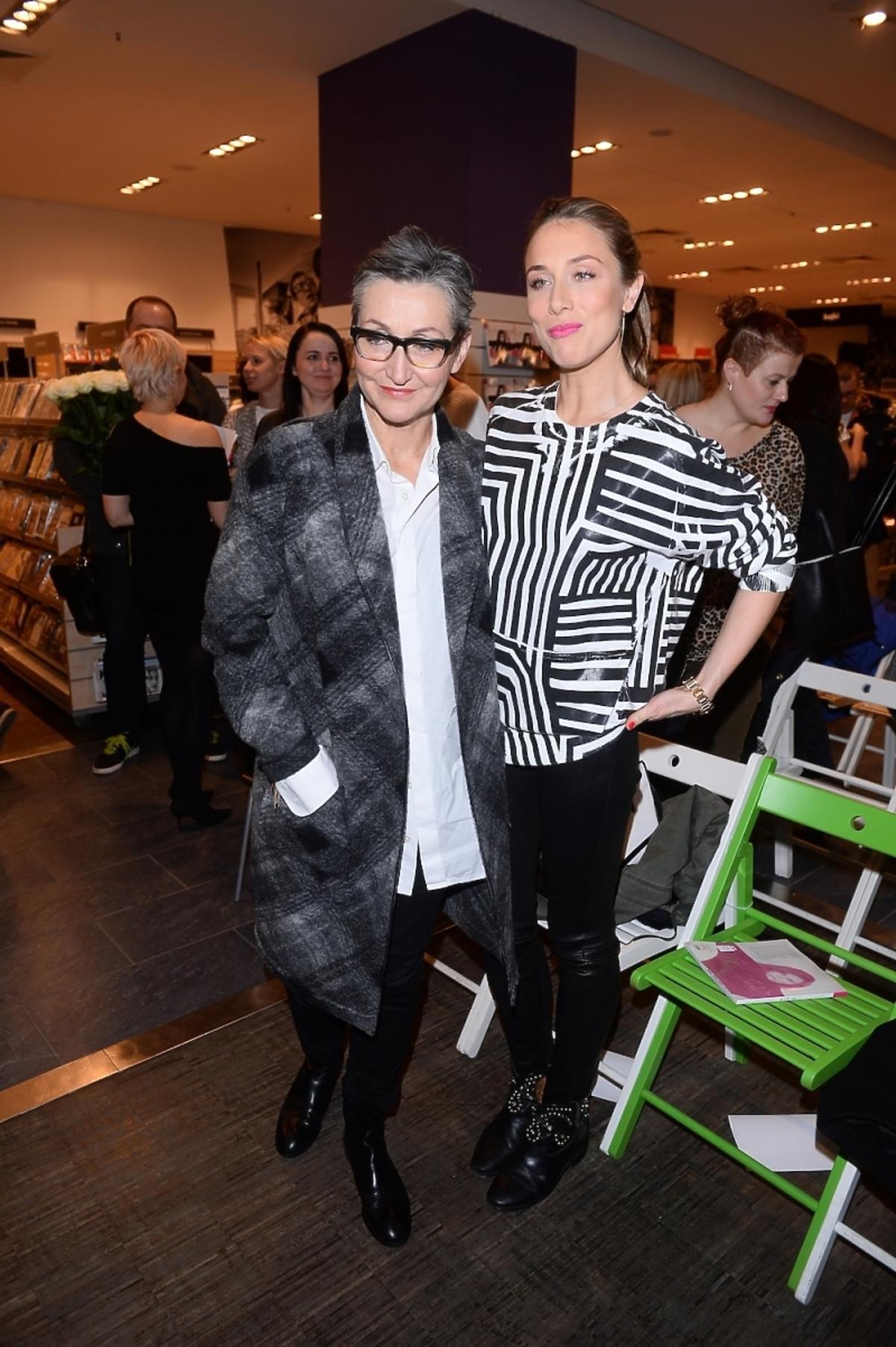 Natalia Klimas i Joanna Klimas na premierze książki Joanny Horodyńskiej Modowy sąd