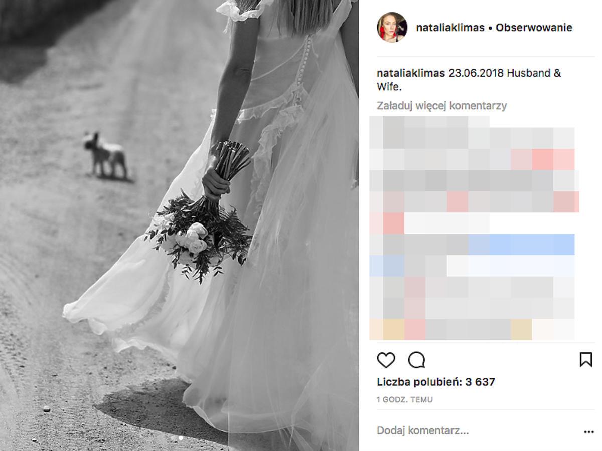 Natalia Klimas wyszła za mąż, suknia