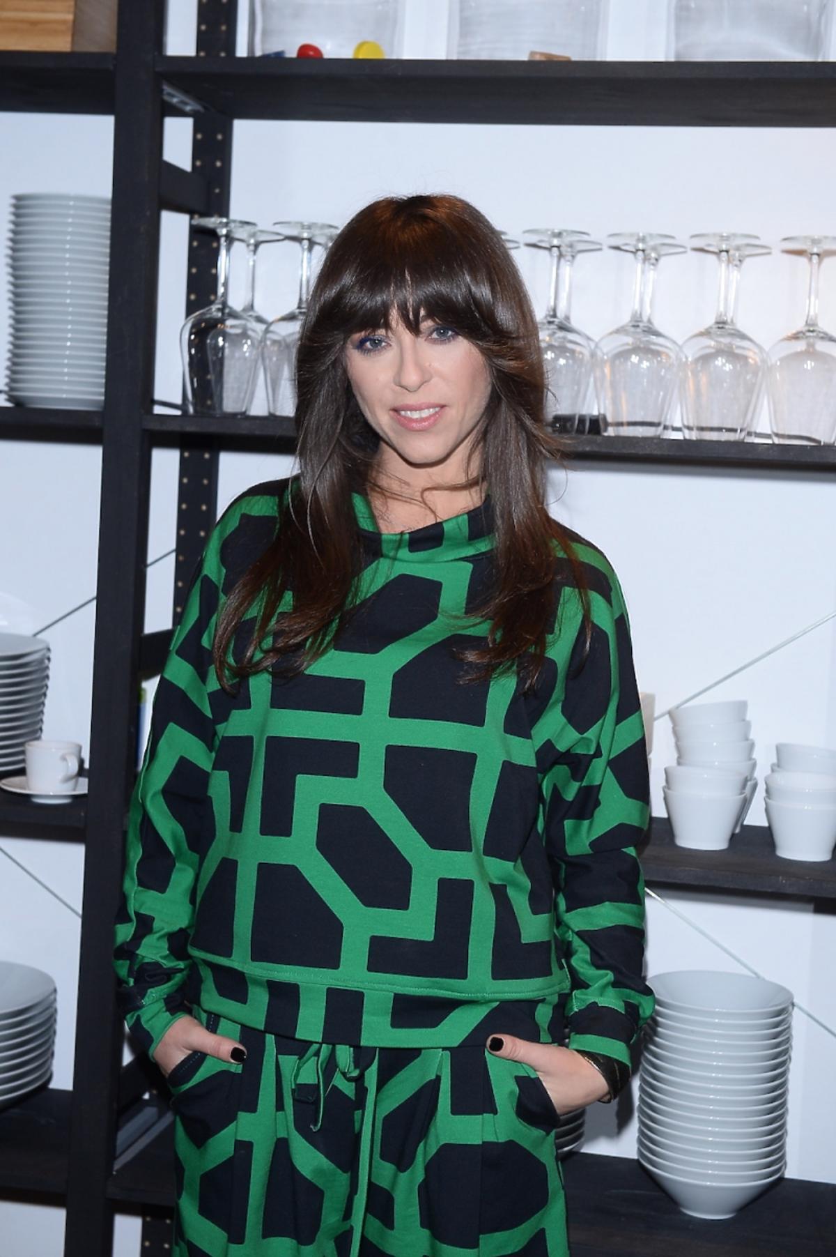 Natalia Kukulska w zielono czarnym komplecie