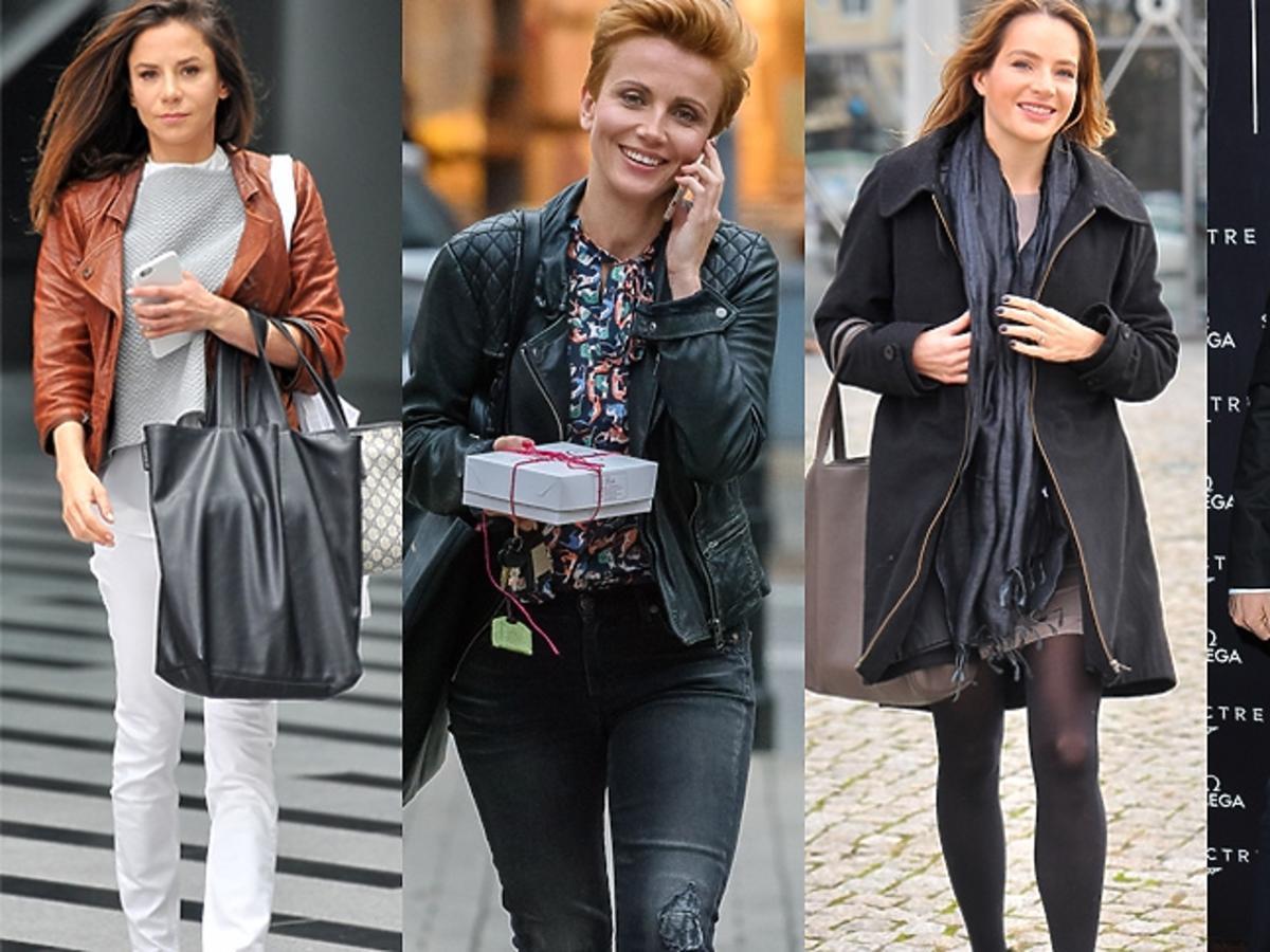 Natalia Lesz w białych spodniach, Katarzyna Zielińska w kurtce, Anna Dereszowska w płaszczu, Mariusz Totoszko w czarnym garniturze