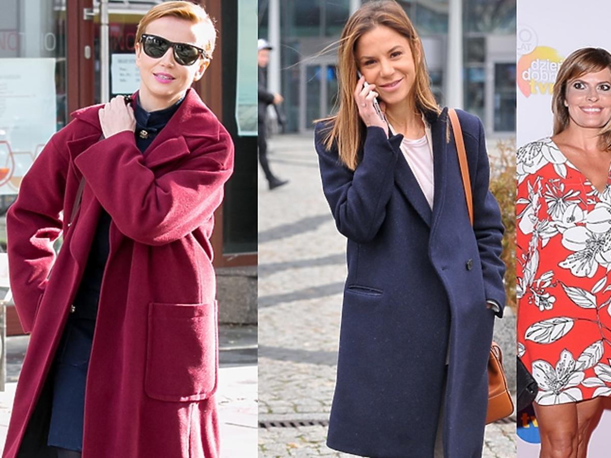 Natalia Lesz w granatowym płaszczu, Katarzyna Zielińska w czerwonym płaszczu, Mariusz Totoszko, Justyna Tomańska pozują do zdjęć