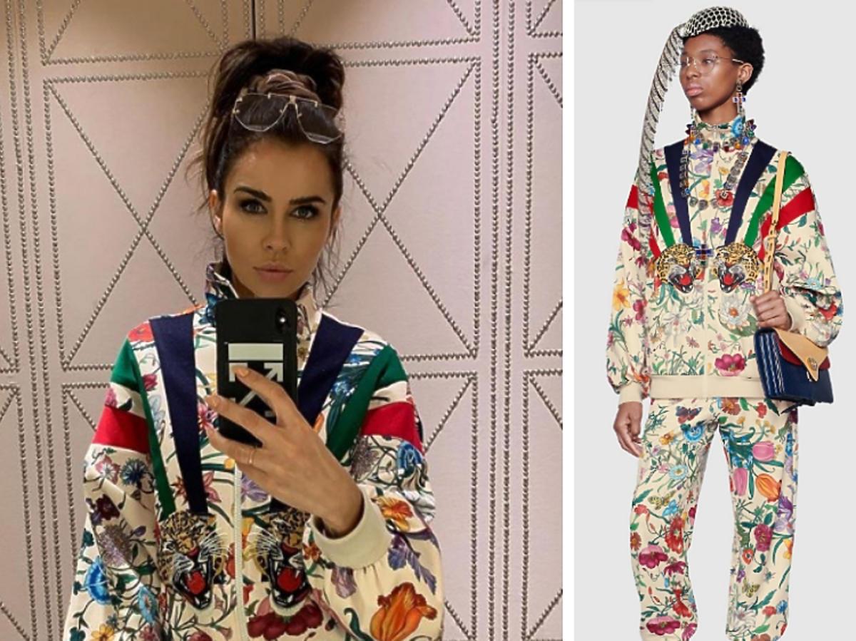 Natalia Siwiec pozuje w kolorowej bluzie w kwiaty z naszywkami Gucci