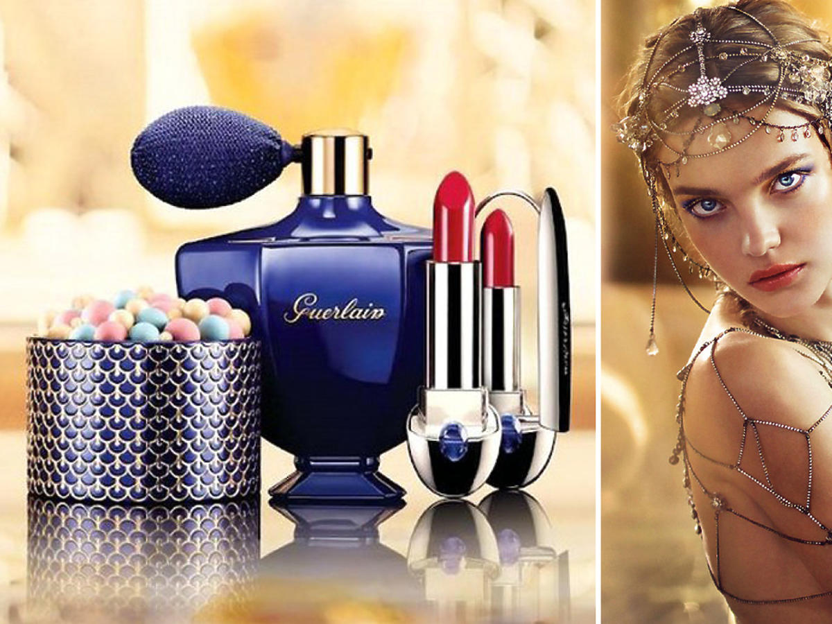 Natalia Vodianova, kosmetyki Guerlain. Mgiełka, bronzer, puder brązujący, Meteorites, szminka Rouge G, Terracota