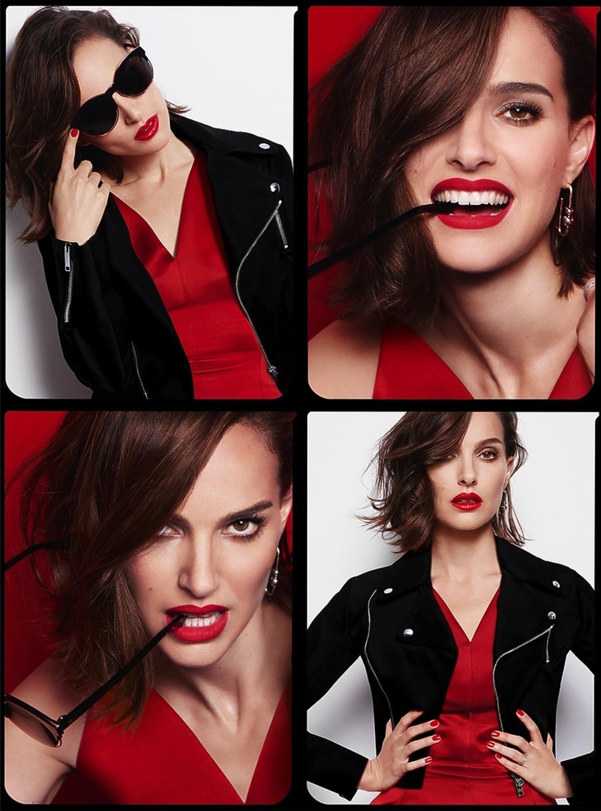 Natalie Portman w czerwonej sukience z czerwonymi ustami