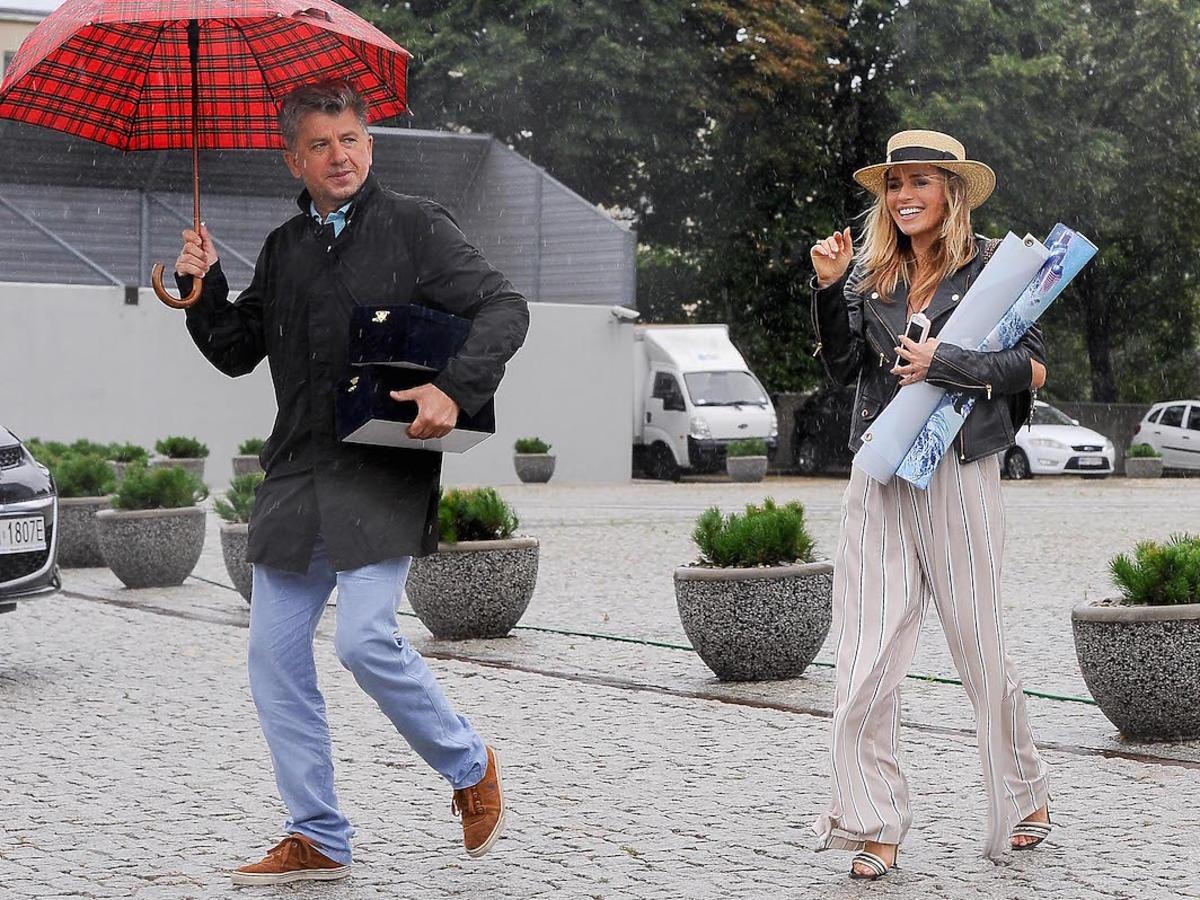 Natasza Urbańska i Janusz Józefowicz w studiu TVP