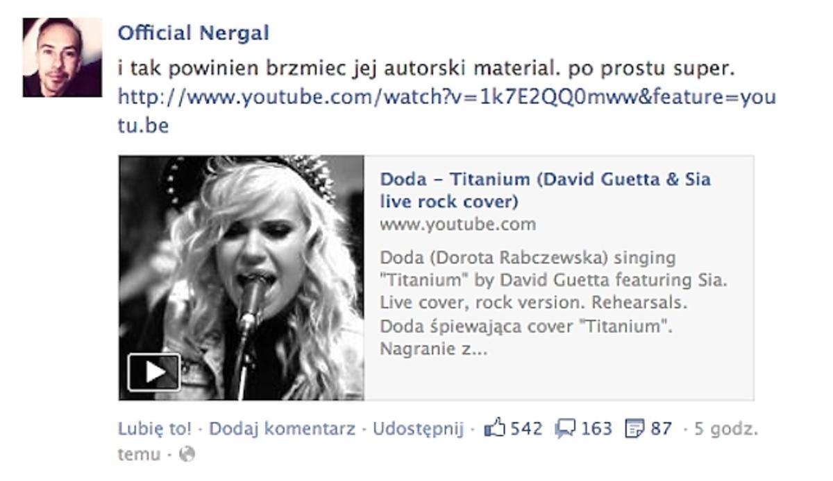Nergal o piosence Dody Titanium