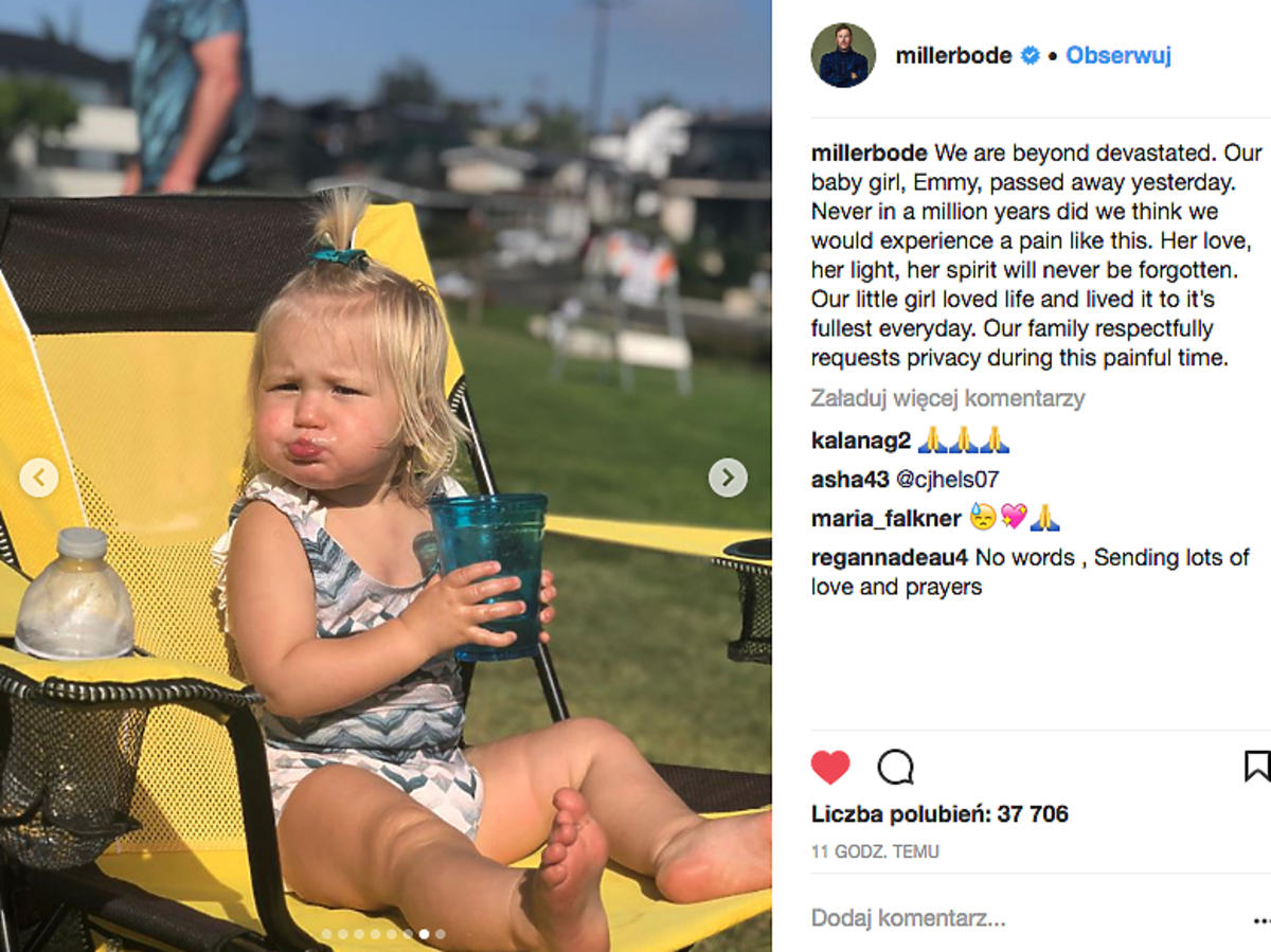 Nie żyje 19-miesięczna córeczka gwiazdy sportu, Bode Millera