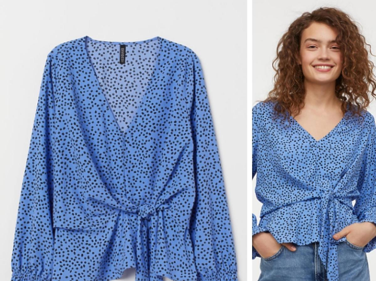 niebieska bluzka w kropki z H&M