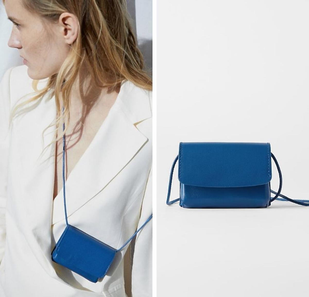 niebieska mini torebka z Zary