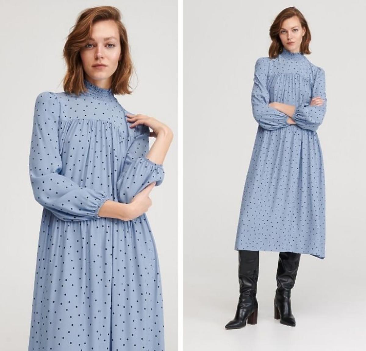 Niebieska sukienka w kropki z Reserved