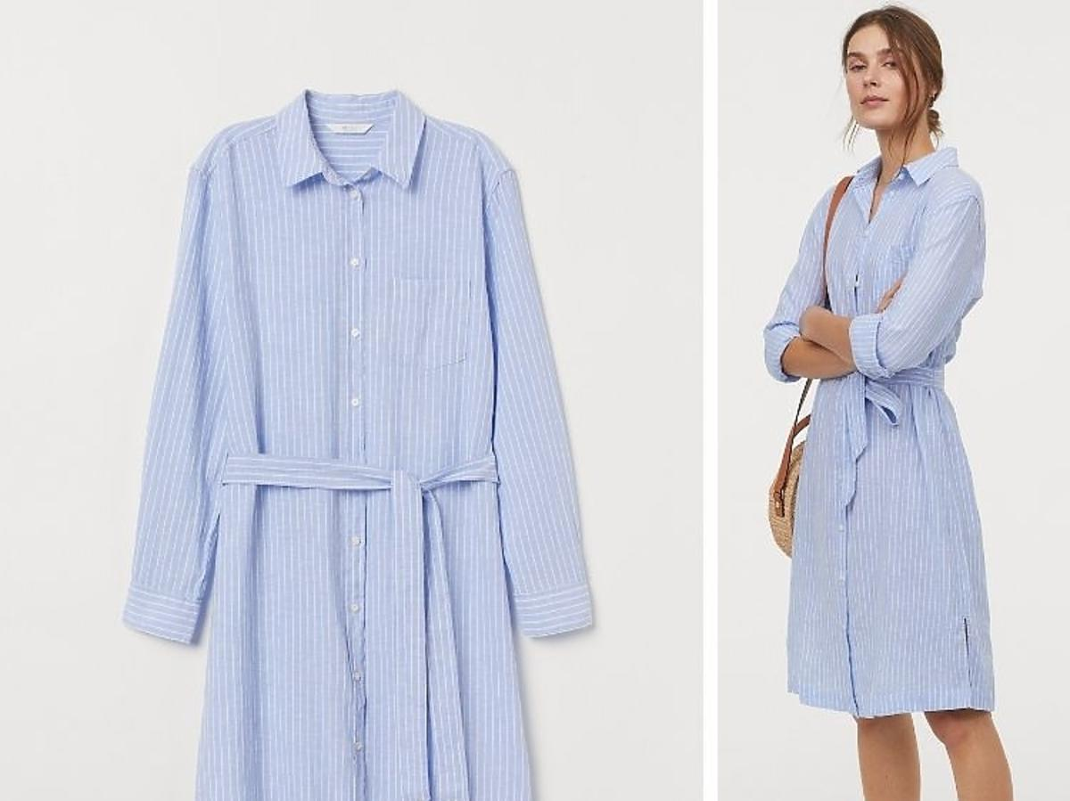 niebieska sukienka w paseczki H&M