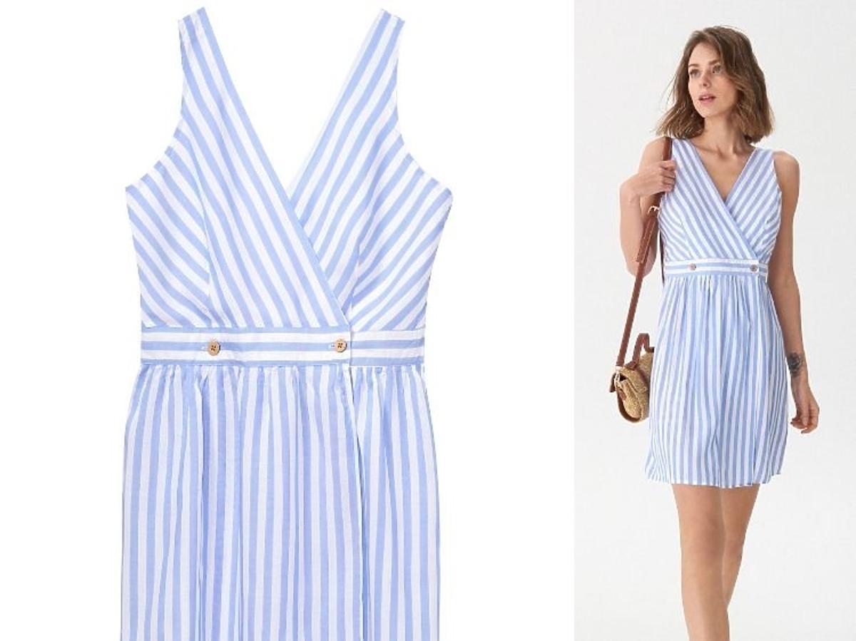 niebieska sukienka w paseczki House