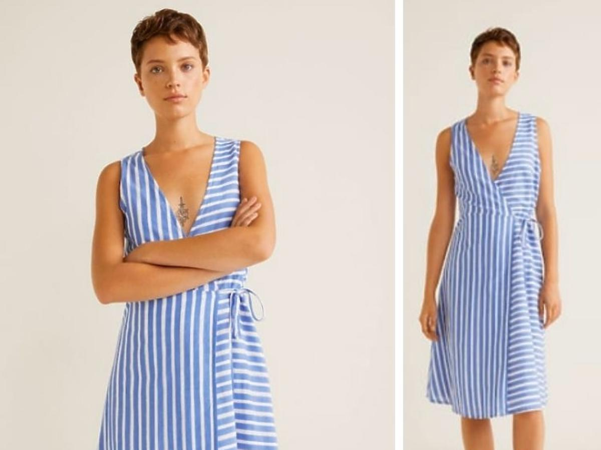 niebieska sukienka w paseczki Mango