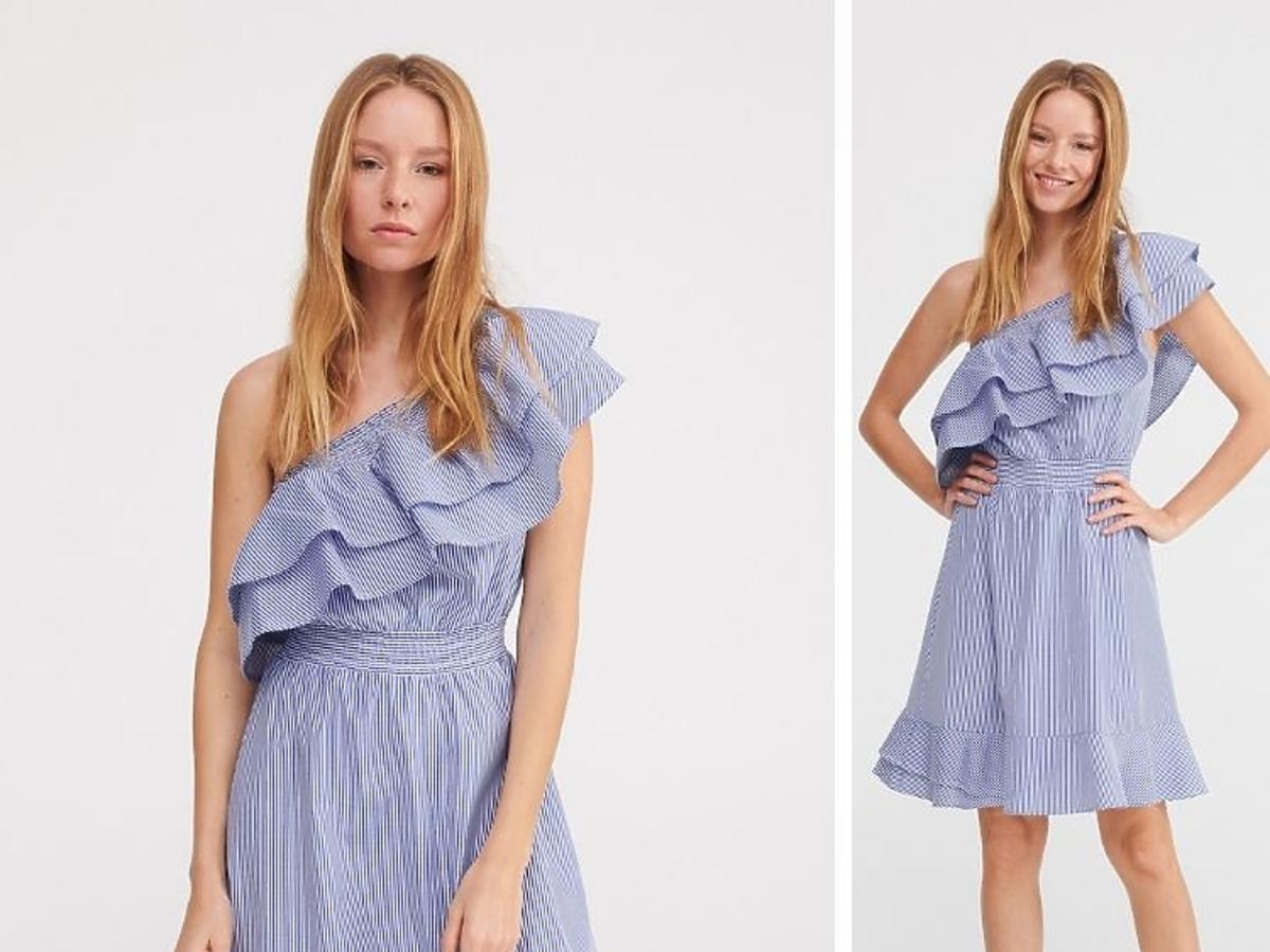 niebieska sukienka w paseczki Reserved