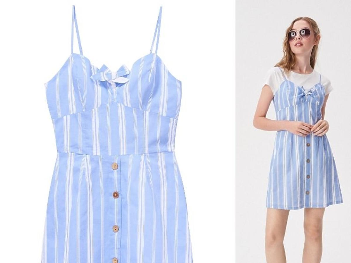 niebieska sukienka w paseczki Sinsay