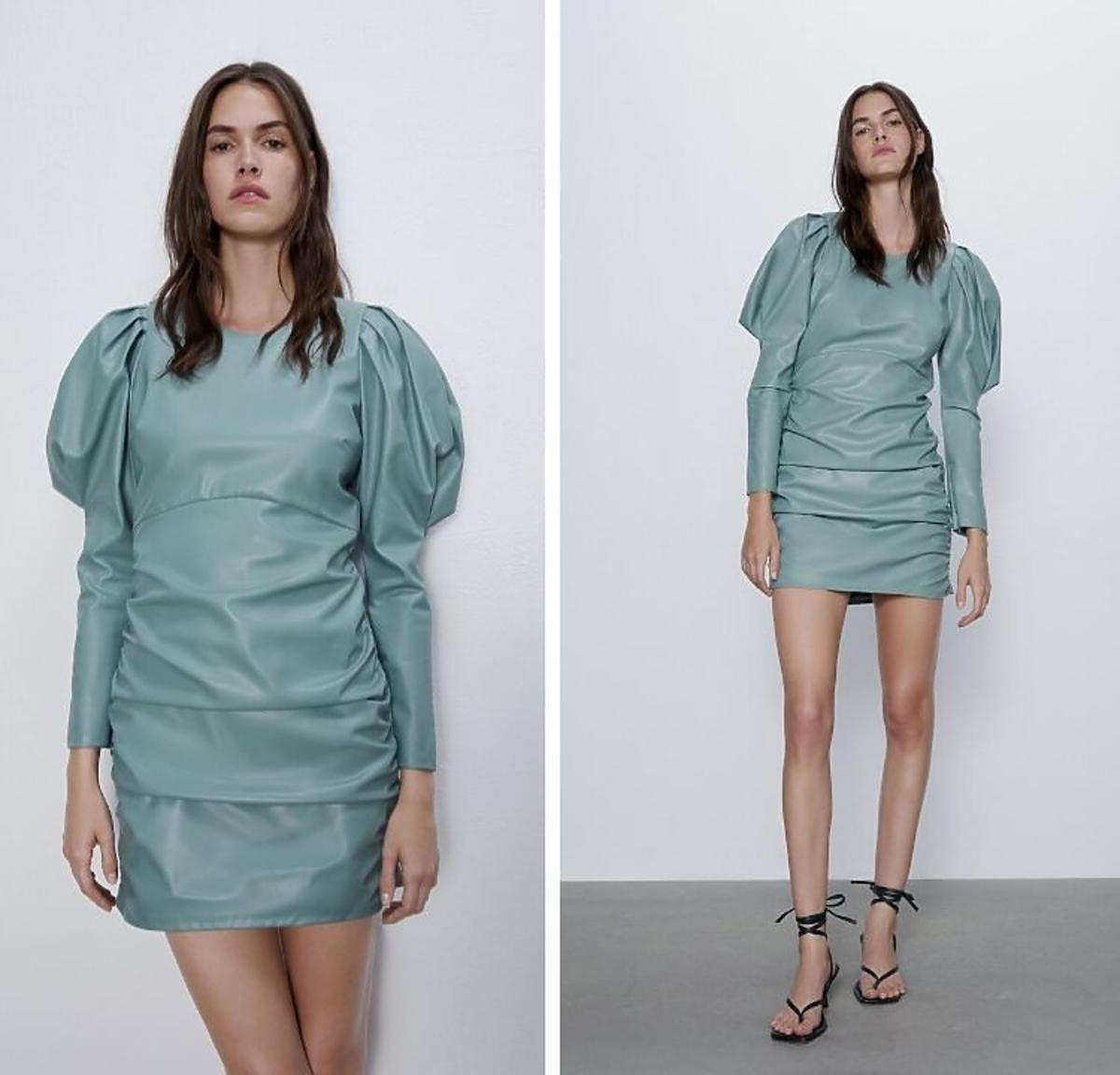 Niebieska sukienka z bufkami ze skóry Zara
