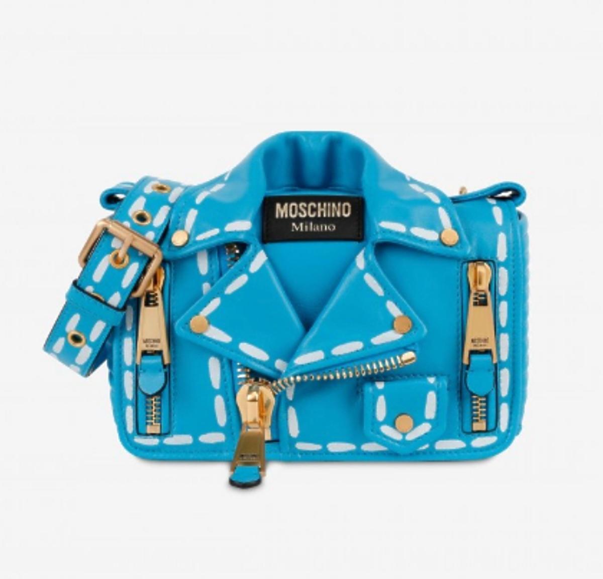 niebieska torebka biker bag Moschino