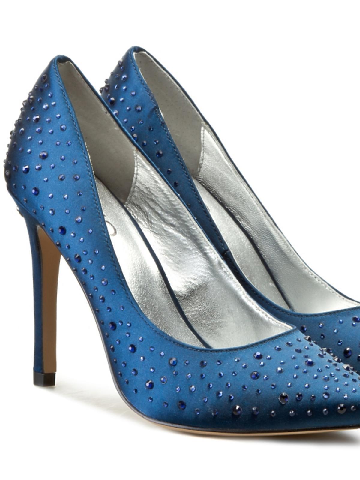 niebieski szpilki z kryształkami