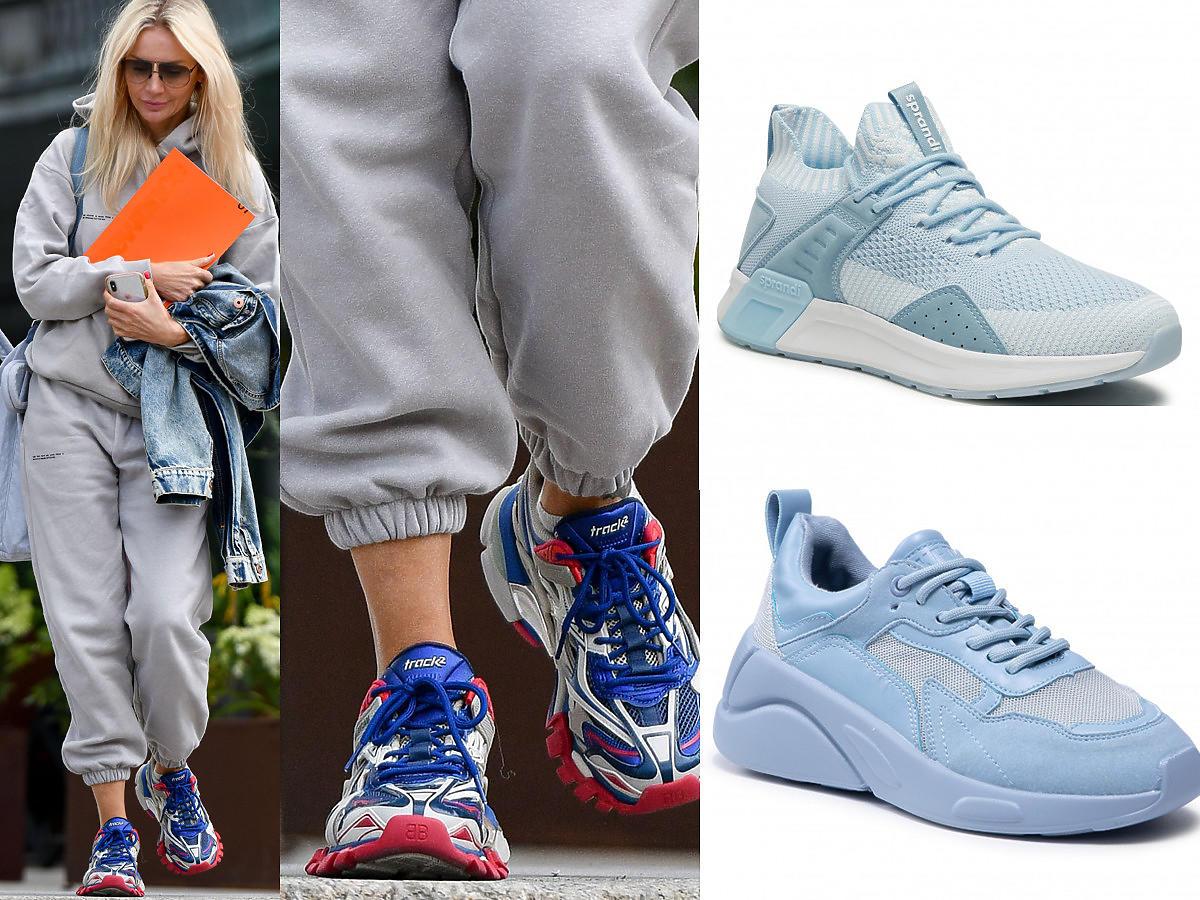 Niebieskie sneakersy w stylu Balenciaga w stylu Agnieszki Woźniak-Starak