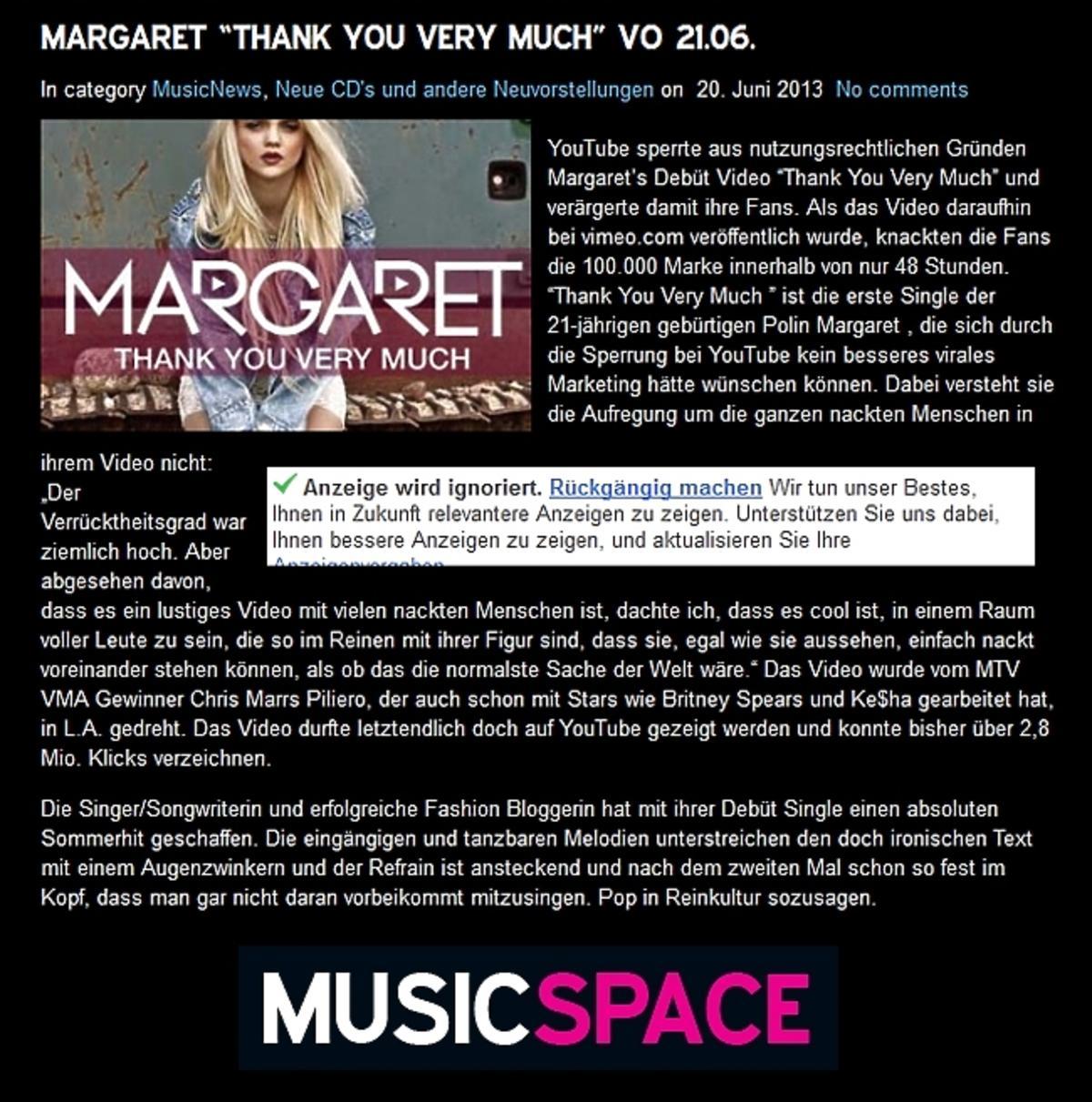Niemiecki serwis o Margaret
