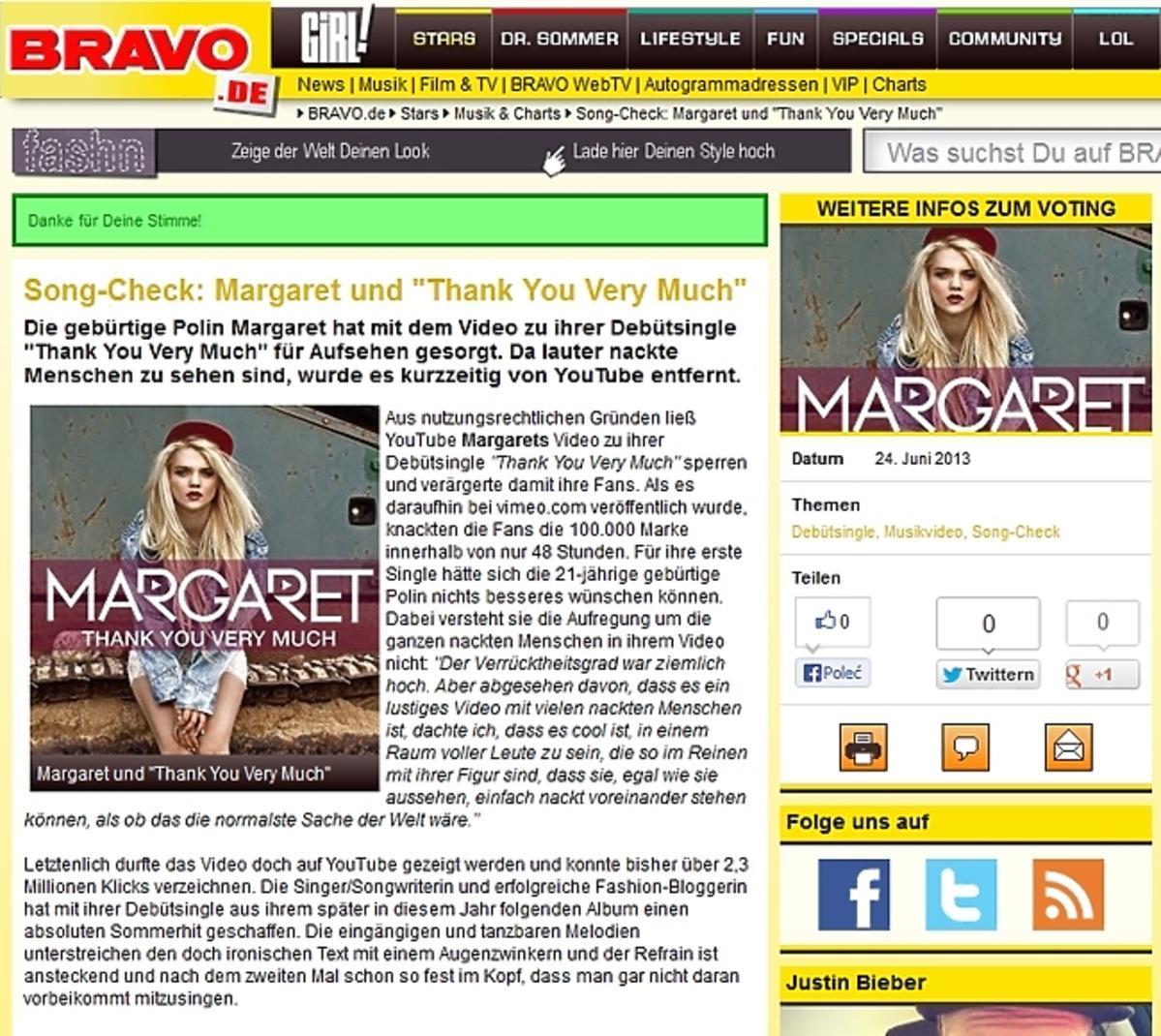 Niemieckie Bravo zachwyca się Margaret