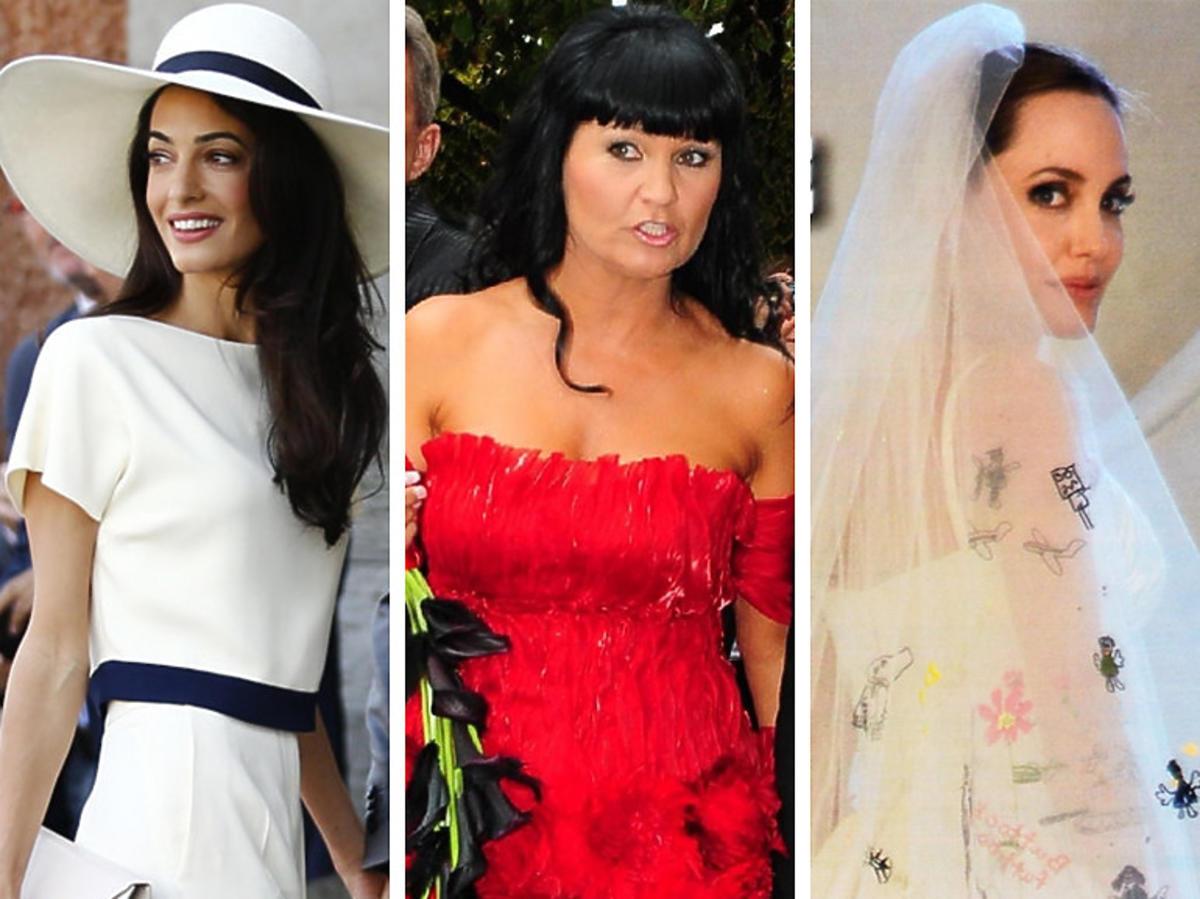 Nietypowe suknie ślubne gwiazd - Amal Clooney, Iwona Pavlovic, Angelina Jolie