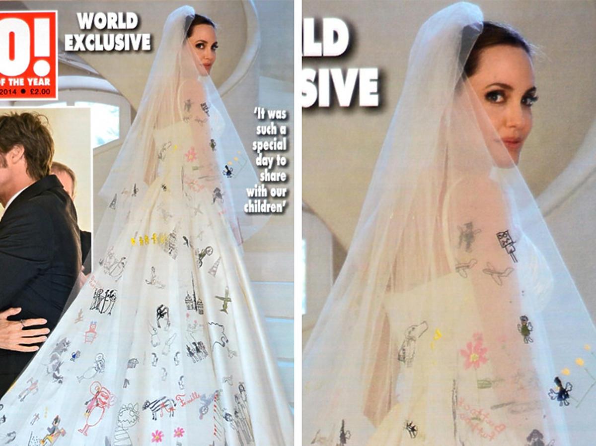 Nietypowe suknie ślubne gwiazd - Angelina Jolie