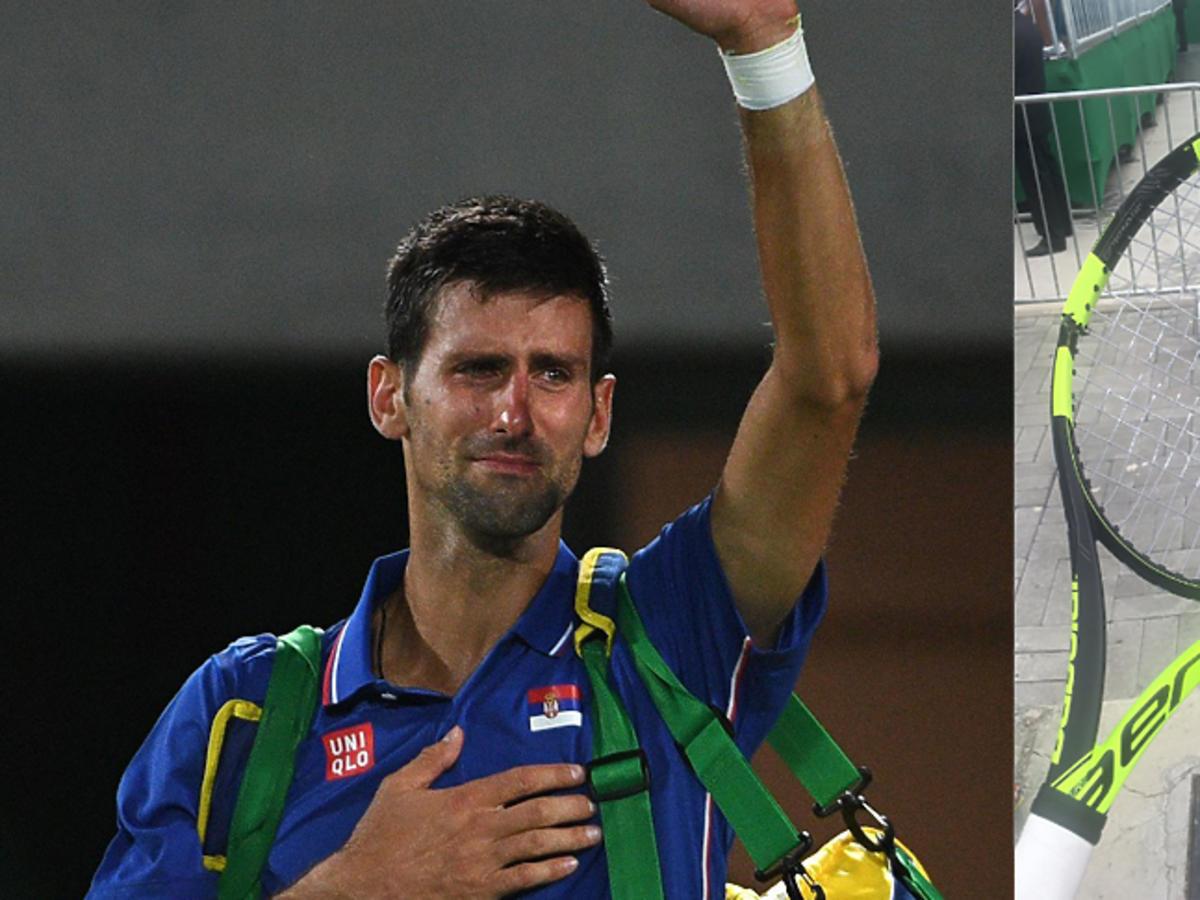 Novak Djokovic i połamana rakieta Jerzego Janowicza igrzyska Rio 2016