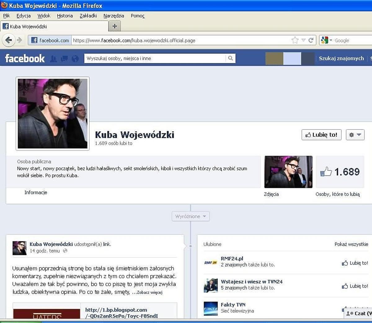 Nowy fanpage Wojewódzkiego na Facebooku