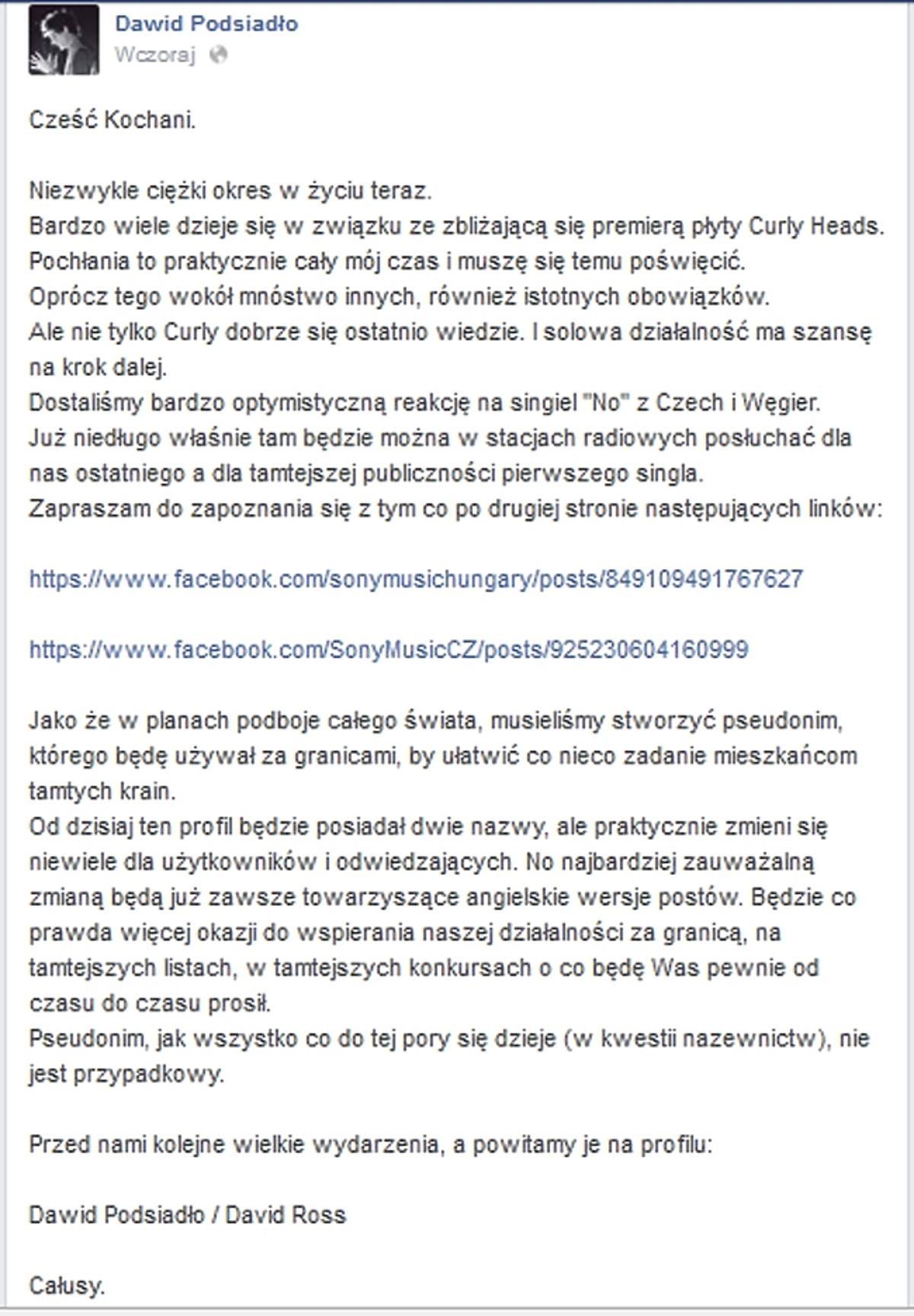 Nowy pseudonim Dawida Podsiadło