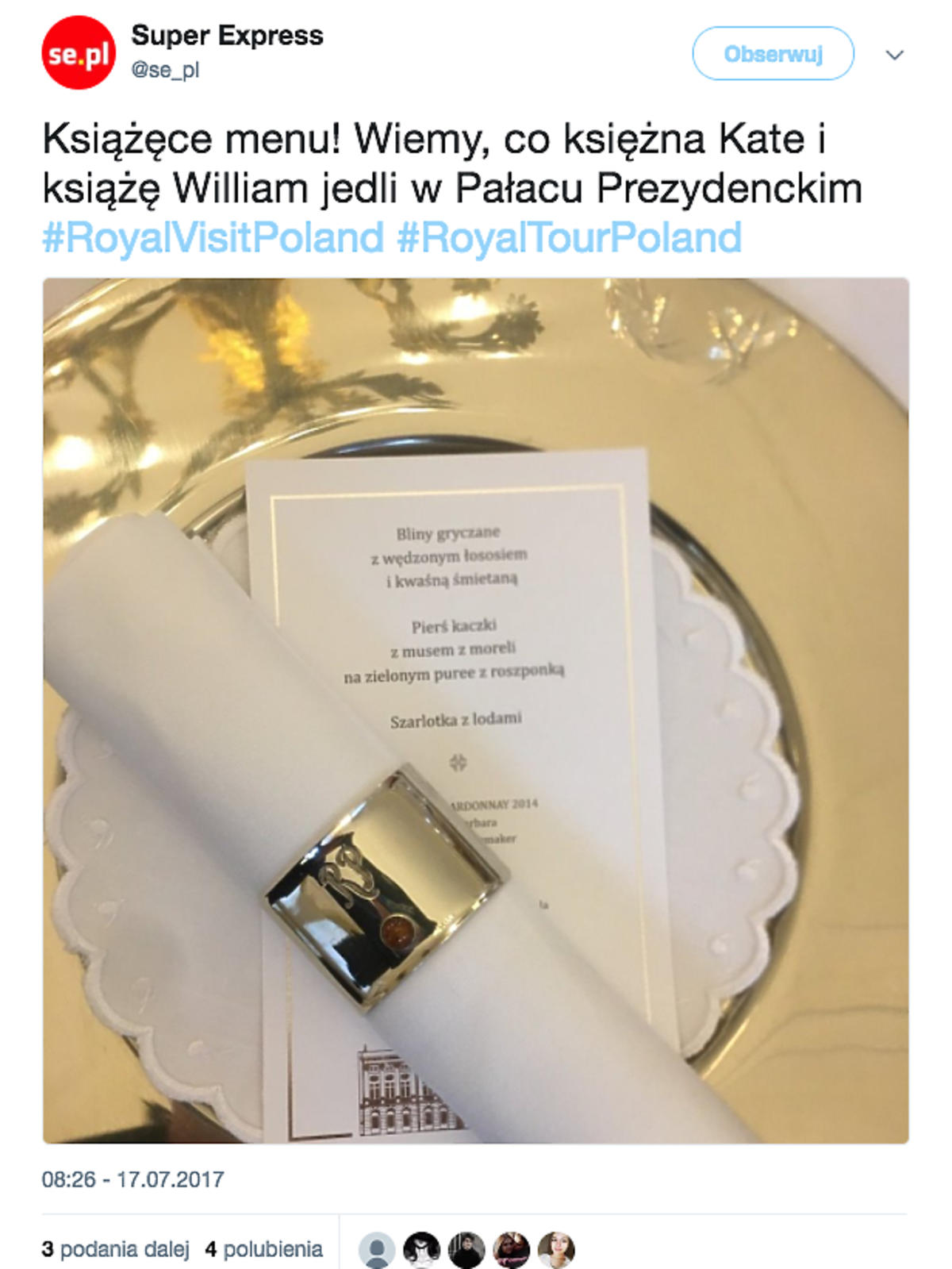 Obiad Kate i Wiliama w Pałacu Prezydenckim