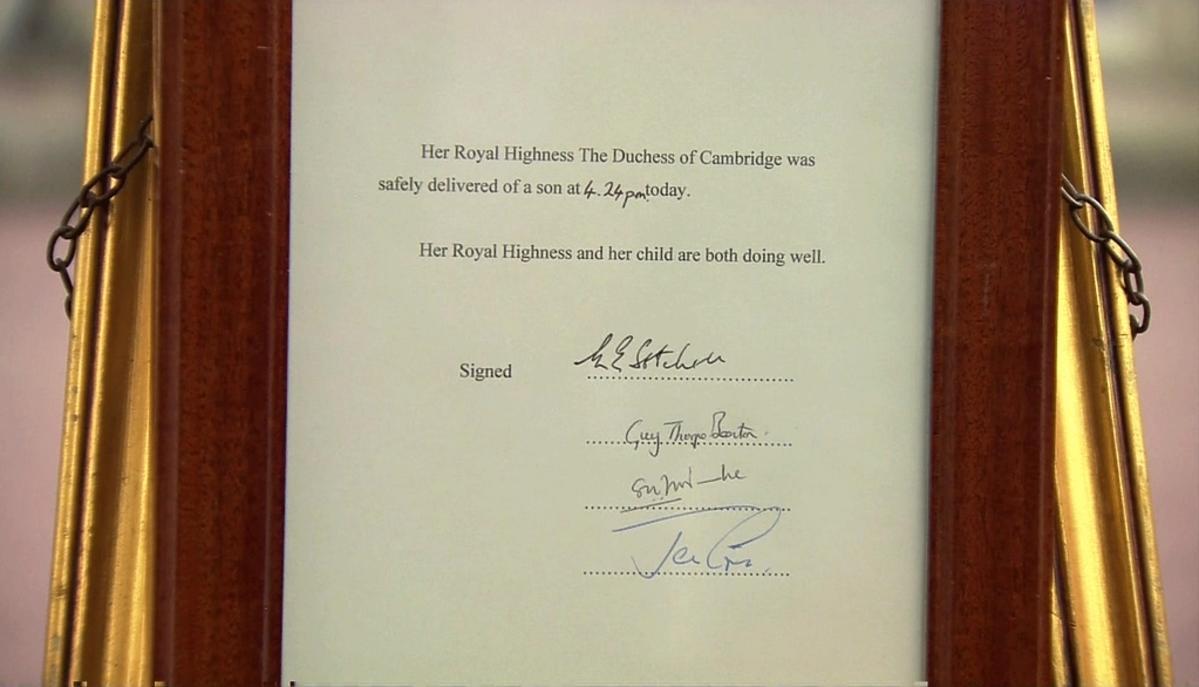 Obwieszczenie o narodzinach księcia