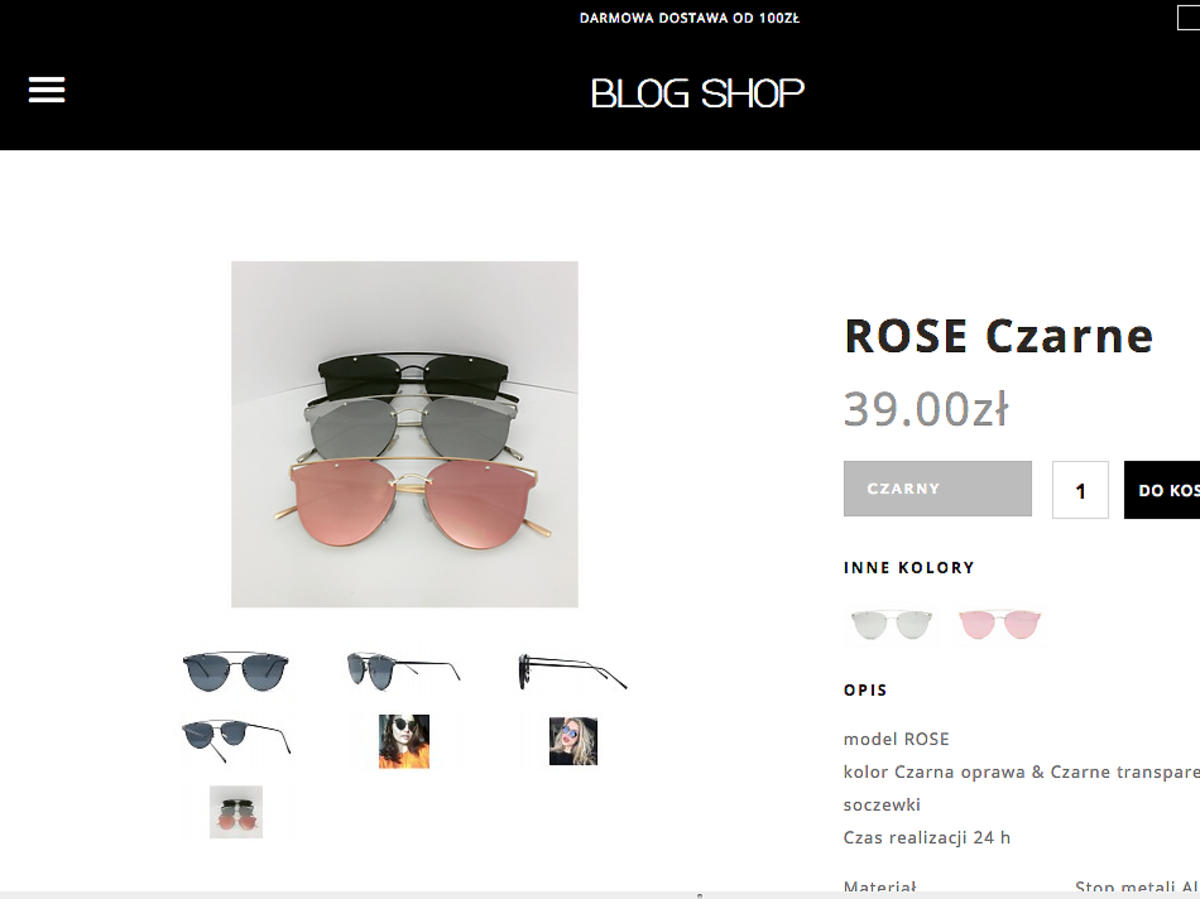 Okulary Blog Shop Rose, 39 zł
