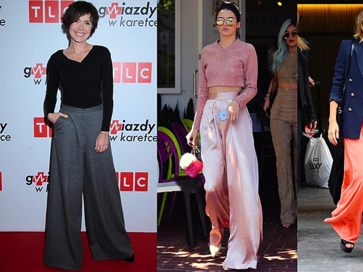 Olga Bołądź, Kendall Jenner, Jessica Alba w szerokich spodniach