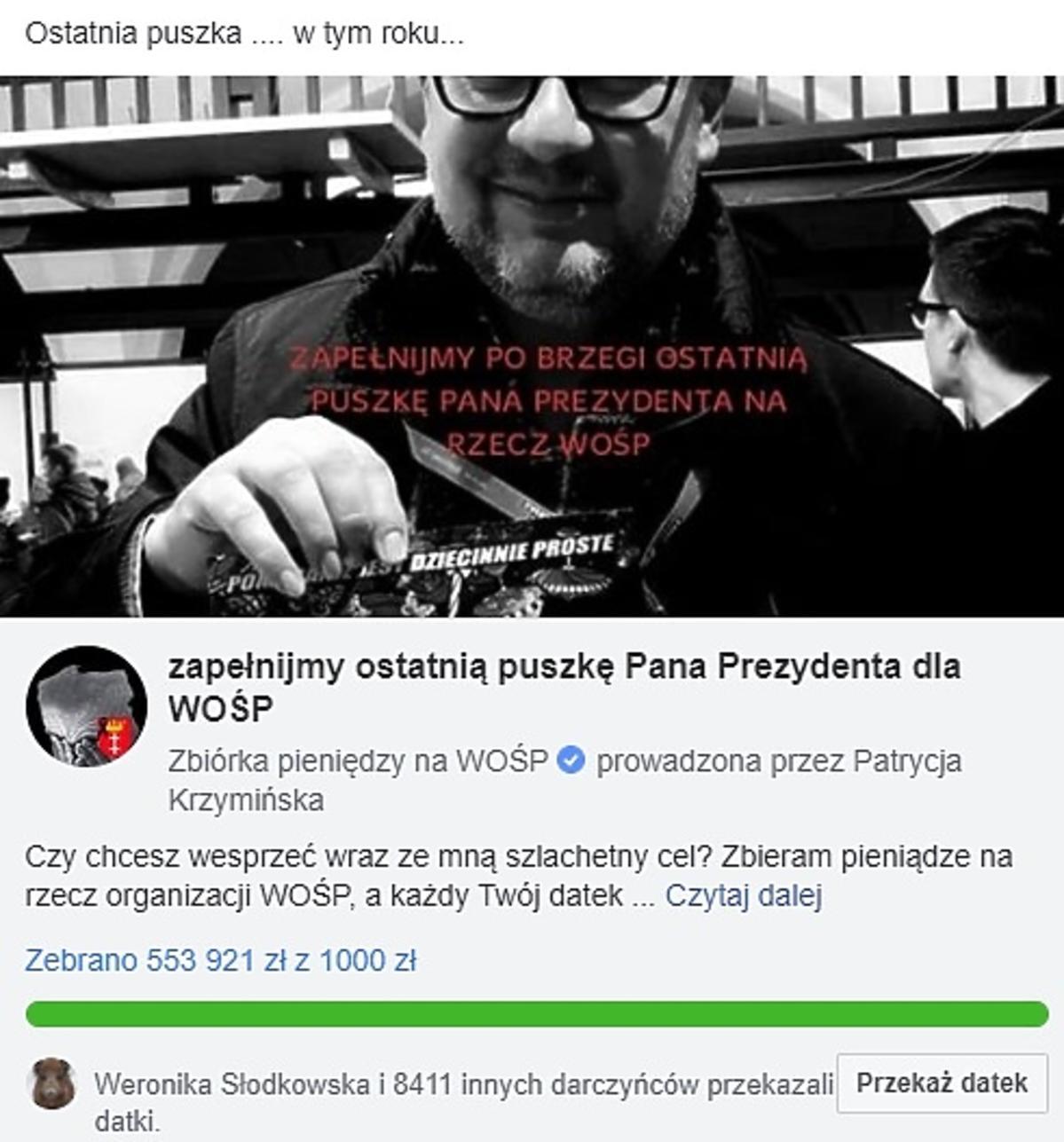 Ostatnia puszka Pawła Adamowicza dla WOŚP
