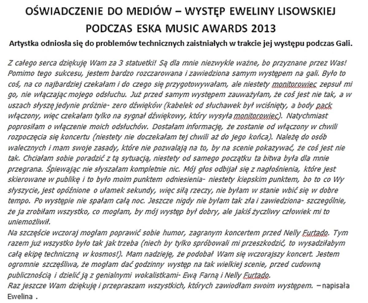 Oświadczenie Eweliny Lisowskiej