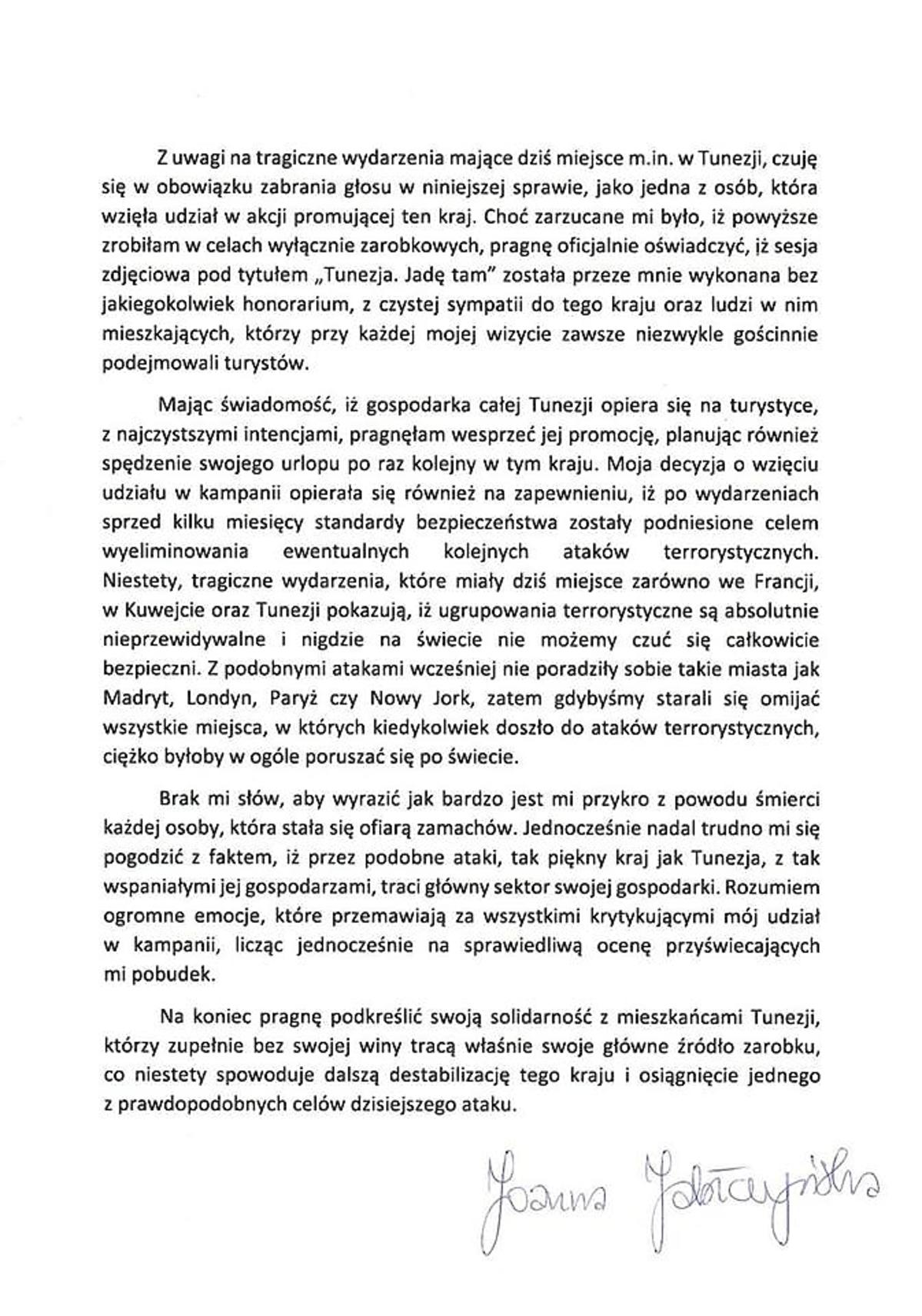 Oświadczenie Joanny Jabłczyńskiej