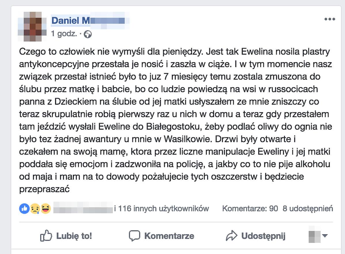 Oświadczenie na Facebooku syna Zenka Martyniuka
