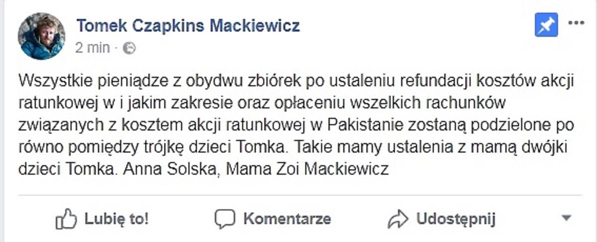 Oświadczenie żony Tomasza Mackiewicz o zbiórce