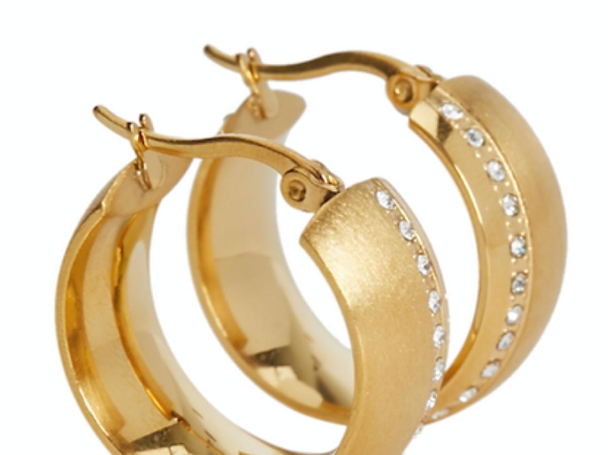 Parfois kolczyki złote koła z cyrkoniami Parfois